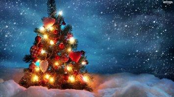 natale albero neve luci