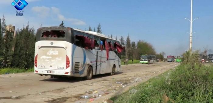 SIRIA ATTENTATO AUTOBUS TERROSTI ALEPPO 15 APRILE 2017 STRADA